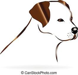 Golden retriever dog head logo vector image template
