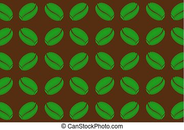 Green coffee beans on a brown background - vector pattern