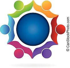 Children around earth logo vector