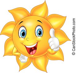 Cartoon smiling sun giving thumb up - Vector illustration of...