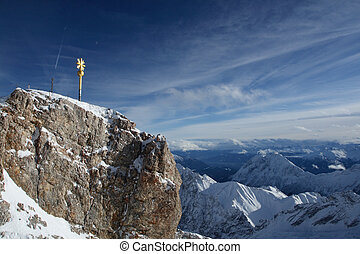 Zugspitze, the golden summit crucifix, Germany