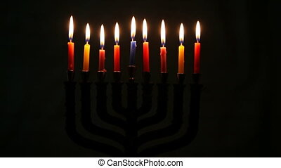 Jewish holiday Hanukkah creative background with menorah....