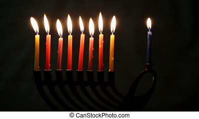 Hanukkah with menorah traditional - low key image of jewish...