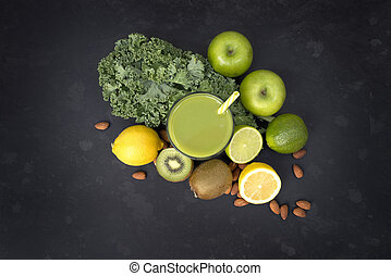 Healthy Living Green Smoothie - Healthy living concept with...