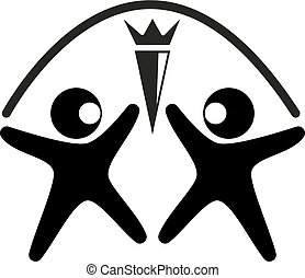 Vector black and white logo two figures of a man of black...