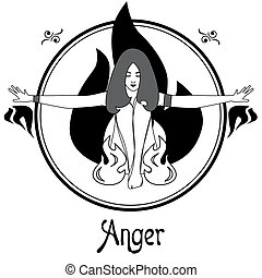 the anger sin - Illustration with a woman on the theme of...
