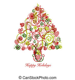 Christmas Tree Abstract with Swirls Hearts Circles -...