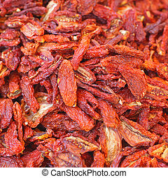 Sun Dried Tomato - Big Pile of Sun Dried Tomatoes Form Italy