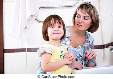 刷, 他們, 牙齒, 女儿, 母親