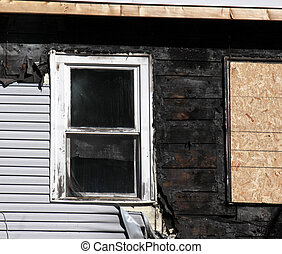 Fire Damage Closeup - A closeup shot of a window in a home...