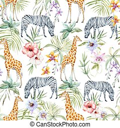 Tropical wildlife vector pattern - Beautiful seamless vector...