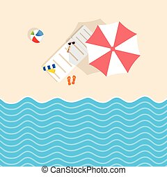 beach stuff with deckchair and umbrella illustration in...