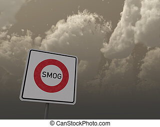 smog area - roadsign smog area under dark sky - 3d...