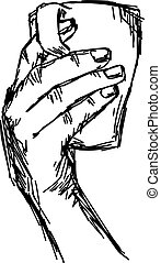 hand holding cup of tea or coffee, pointing finger in the...