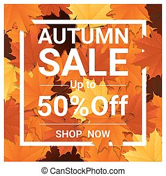 Autumn sale banner with colorful leaves 2 - Autumn sale...