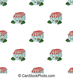 Supermarket icon in cartoon style isolated on white...