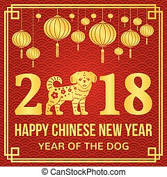 Happy Chinese New Year 2018 typography with Gold Dog and...