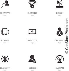 Set Of 9 Editable Internet Icons. Includes Symbols Such As...