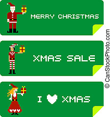 Xmas labels with pixel characters