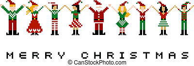 Merry Xmas celebration - A group of pixeled xmas characters...
