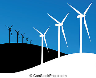 Eco windmills illustration - Group of Windmills silhouettes...
