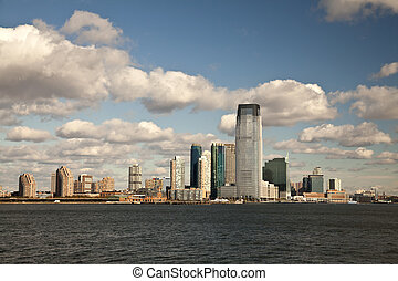 New Jersey City in the autumn sun