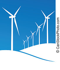 Eco windmills illustration - Group of Windmills white...
