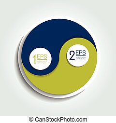 Two element circle infographic chart. Ying Yang infographic...