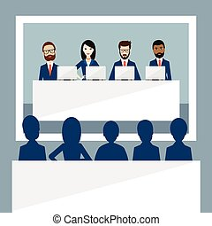 Meeting or video conference of managers, presentation,...