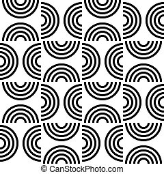 Seamless Semicircle Pattern. Abstract Black and White...