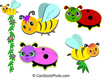 Mix of Bees and Ladybugs