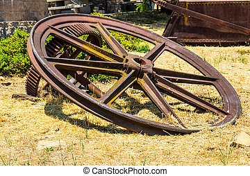 Large Vintage Mining Wheels With Ore Cart Carrier In...