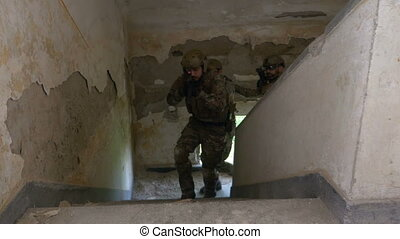 Special forces terrorist hunter unit searching abandoned...