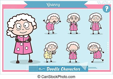 Cartoon Old Grandma Character Expressions and Actions Vector Set