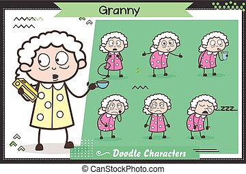 Cartoon Old Grandma Character Different Expressions and Poses Vector Set