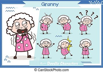 Set of Comic Character Granny Expressions Vector Illustrations