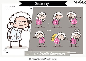 Cartoon Old Age Woman Various Poses and Expressions Vector Illustration