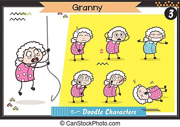 Cartoon Old Lady Characters Different Poses and Facial Expressions Vector Set