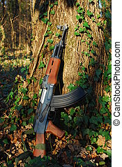 kalashnikov - A kalashnikov rifle leaning against a tree in...