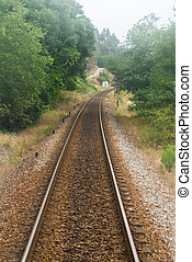 Railroad track, train point of view - Railroad track winding...