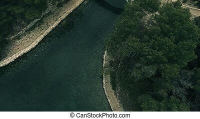 Bridge on island Mljet aerial - Copter aerial view of the...