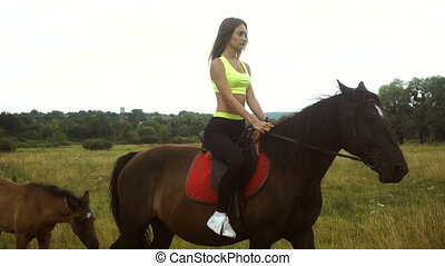 pretty girl riding astride beautiful Brown horse outside