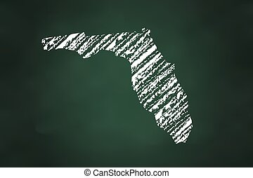 Florida State Map Chalk Style