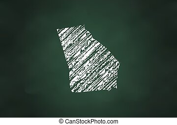 Georgia State Map Chalk Style