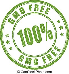 Gmo free rubber stamp isolated on white background