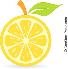 Fresh lemon vector icon on white background