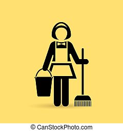 Cleaner maid icon - Cleaner maid vector icon