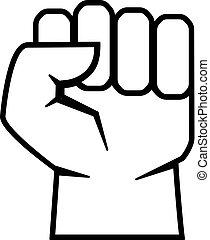 Clenched fist vector icon - Clenched fist vector outline...