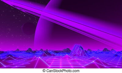 80's VJ Landscape Day and Night Series - Retro futuristic...
