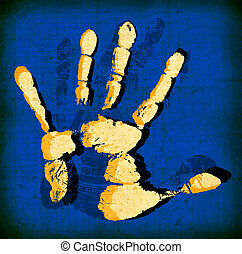 Hand Print - Printout of human hand with unique detail